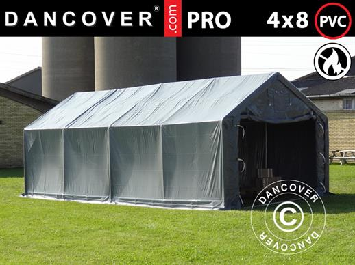 Storage shelter PRO 4x8x2x3.1 m, PVC, Grey