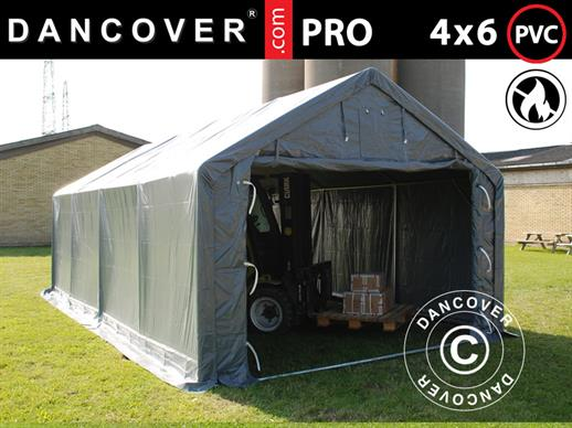 Storage shelter PRO 4x6x2x3.1 m, PVC, Grey