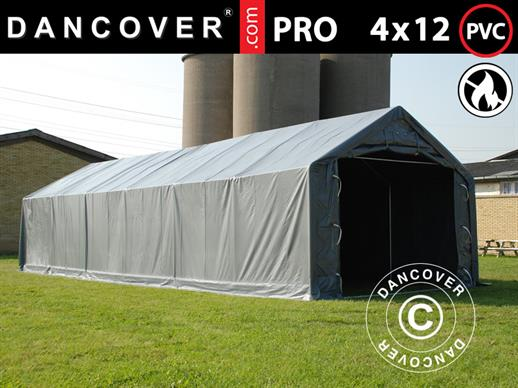 Storage shelter PRO 4x12x2x3.1 m, PVC, Grey