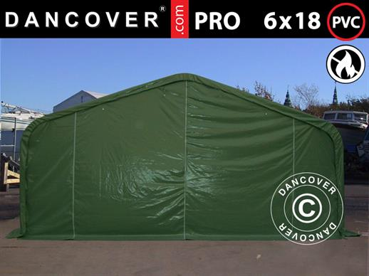 Storage shelter PRO 6x18x3.7 m PVC, Green