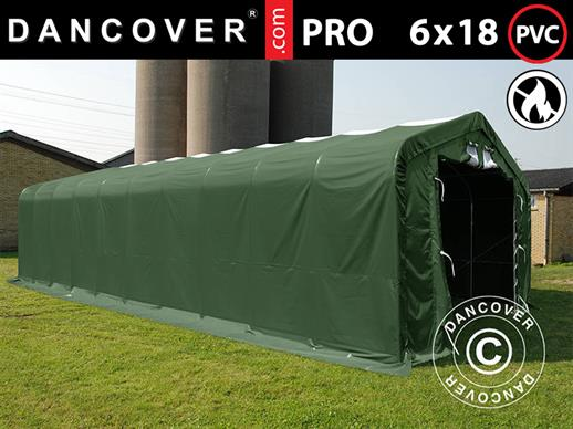 Storage shelter PRO 6x18x3.7 m PVC w/ skylight, Green