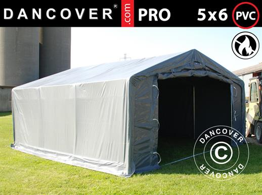 Storage shelter PRO 5x6x2x3.39 m, PVC, Grey