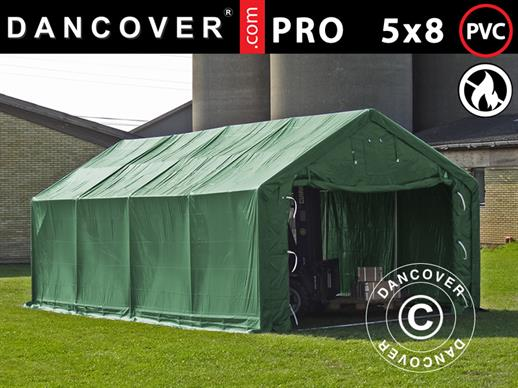 Storage shelter PRO 5x8x2x3.39 m, PVC, Green