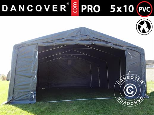 Storage shelter PRO 5x10x2x3.39 m, PVC, Grey