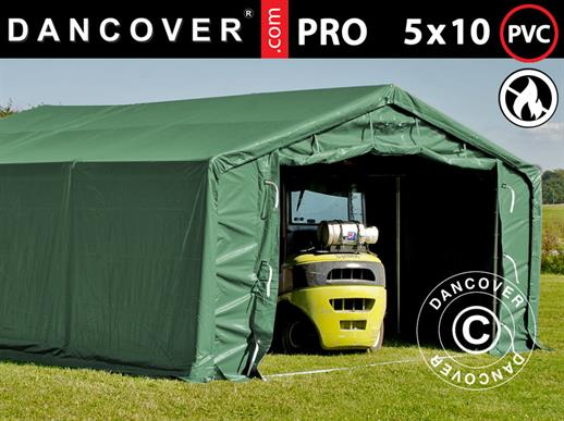 Storage shelter PRO 5x10x2x3.39 m, PVC, Green