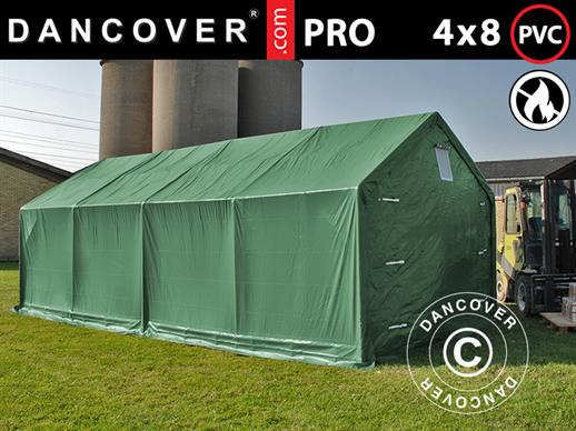 Storage shelter PRO 4x8x2x3.1 m, PVC, Green