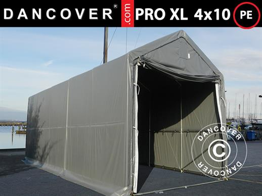 Storage shelter PRO XL 4x10x3.5x4.59 m, PE, Grey