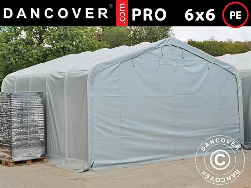 Storage shelter PRO 6x6x3.7 m, PE, Grey