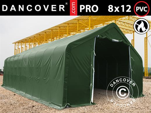 Storage shelter PRO 8x12x5.2 m PVC w/ skylight, Green