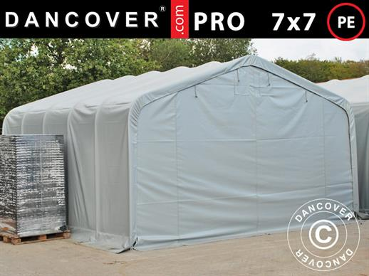 Storage shelter PRO 7x7x3.8 m, PE, Grey
