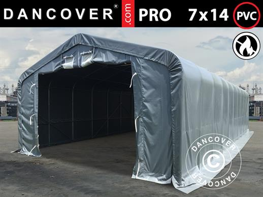 Storage shelter PRO 7x14x3.8 m PVC w/ skylight, Grey