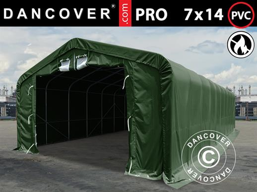 Storage shelter PRO 7x14x3.8 m PVC w/ skylight, Green