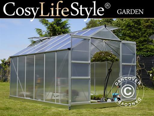 Greenhouse Polycarbonate 9 13 m², 2 48x3 68x2 26 m, Aluminium