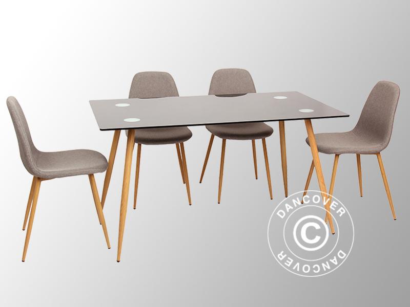 Utestående Spisegruppe m/1 Torino spisebord, svart/eik + 4 Napoli spisestoler KG-59