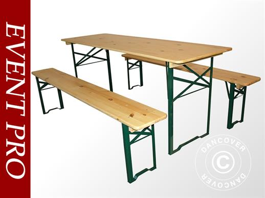 Beer Table Set PRO 180x60x78 cm, Pinewood