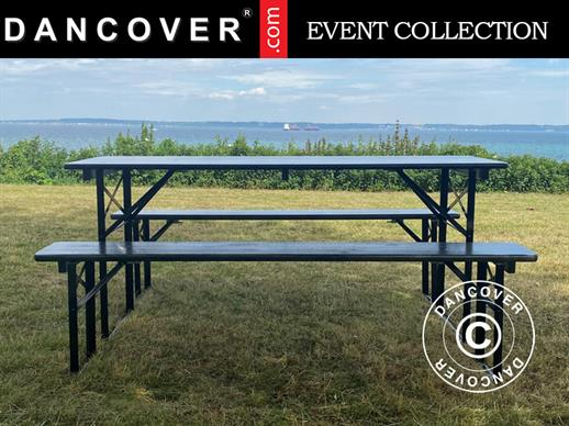 Beer Table Set PRO 180x60x78 cm, Black