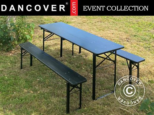 Beer Table Set PRO 220x60x78 cm, Black