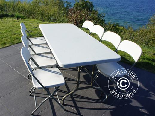 Party package, 1 folding table (244 cm) + 8 chairs, Light grey/White