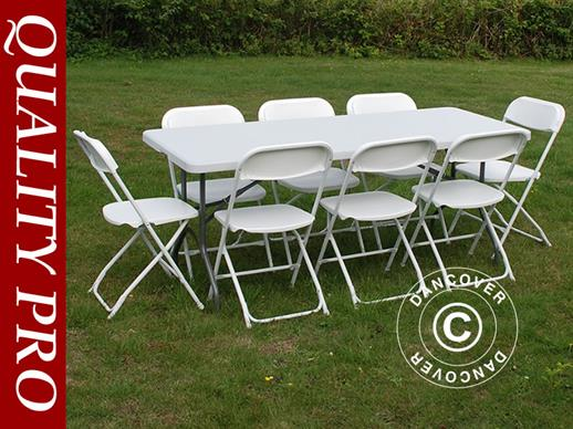 Party package, 1 folding table (182 cm) + 8 chairs & 8 Seat cushions, Light grey/White
