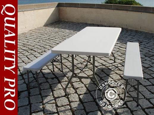 Beer Table Set, 1 folding table (182 cm) + 2 folding benches (183 cm), Light grey