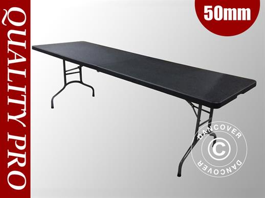 Table pliante 242x76x74cm, Noir (1 pce)