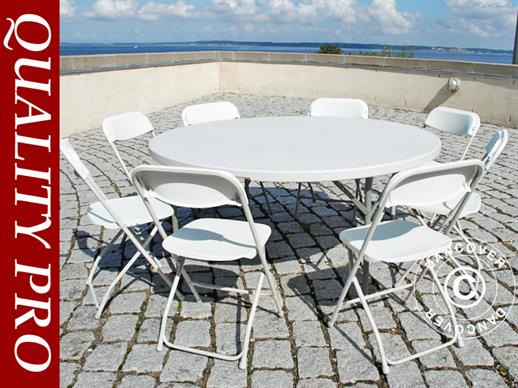 Round folding table Ø 152 cm + 8 chairs, Light grey/White