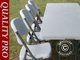 Party package, 1 folding table (153 cm) + 4 chairs, Light grey