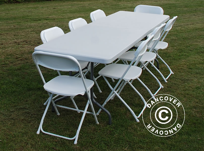 Table Chairs Set Folding Banquet Table 242cm 8 Chairs Party Dining Garden Pic