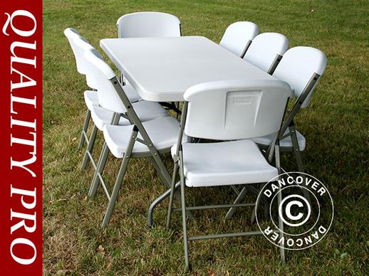 Party package, 1 folding table PRO (182 cm) + 8 chairs, Light grey/White