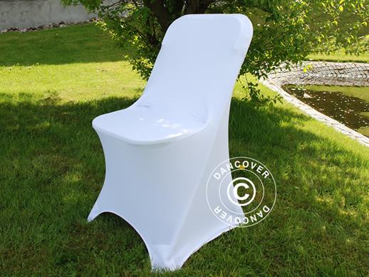 Couverture de chaise extensible 44x44x80cm, Blanc (1 pcs)