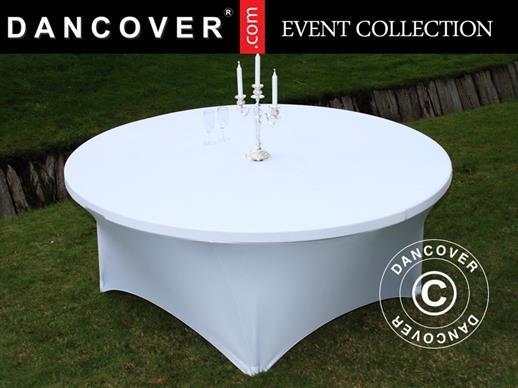 Stretch table cover Ø183x74 cm, White