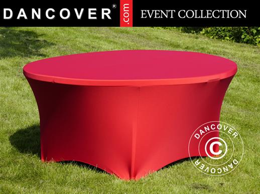 Stretch table cover, Ø152x74 cm, Red