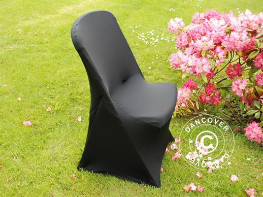 Stretch chair cover 48x43x89 cm, Black (10 pcs.)