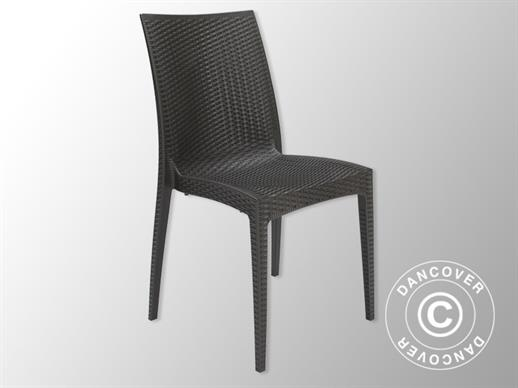 Stacking chair, Rattan Bistrot, Anthracite, 6 pcs.