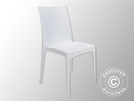 Stacking chair, Rattan Bistrot, White, 6 pcs.