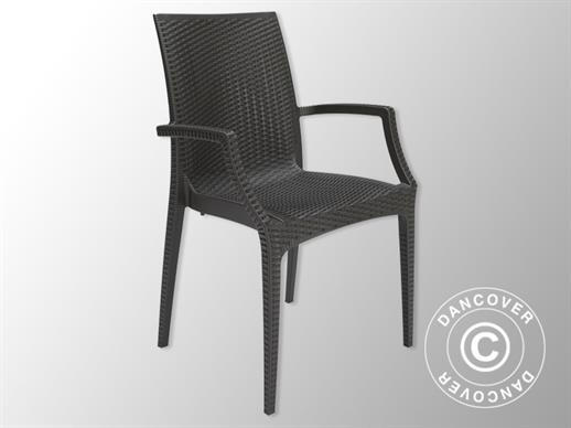 Chaise avec accoudoirs, Rattan Bistrot, Anthracite, 6 pcs.