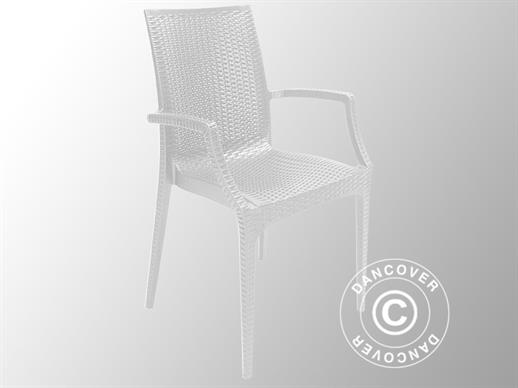 Chair with armrests, Rattan Bistrot, White, 6 pcs.