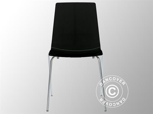 Chair, Lollipop, Glossy black, 6 pcs.