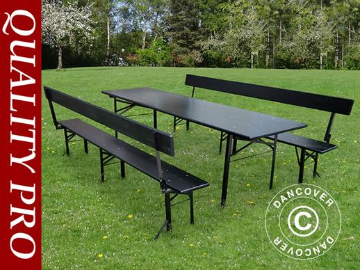 Beer Table Set 220x60x76 cm, w/backrest, Black