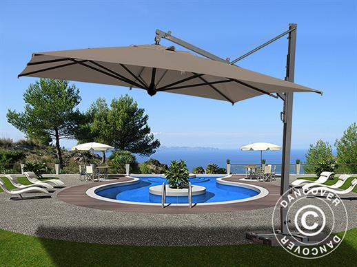 Cantilever parasol Galileo Maxi, 4x4 m, Grey taupe