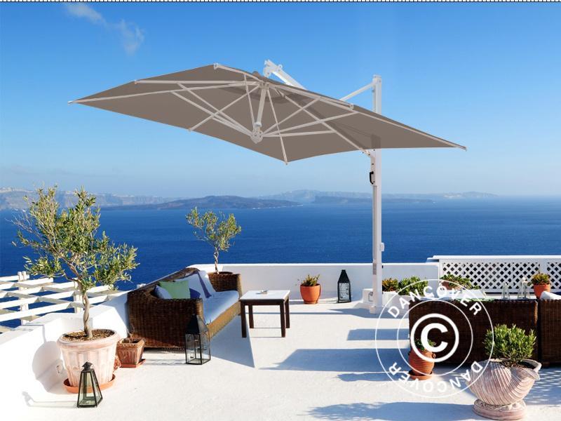 Freiarm Sonnenschirm Galileo White 3 5x3 5m Grau Taupe