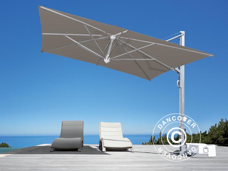Freiarm Sonnenschirm Galileo Inox 3 5x3 5m Grau Taupe