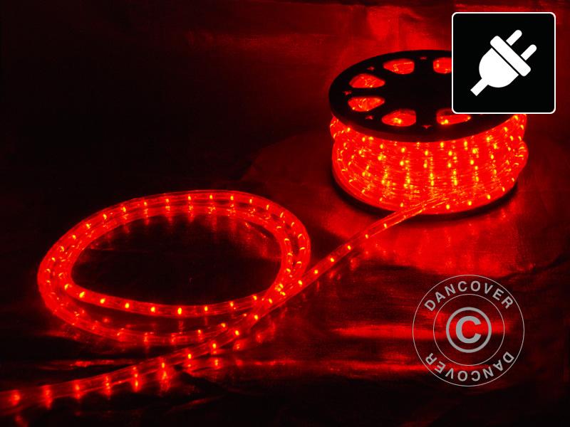 Cordon lumineux à LED, 50m, Ø1,2cm, Multifonction, Rouge