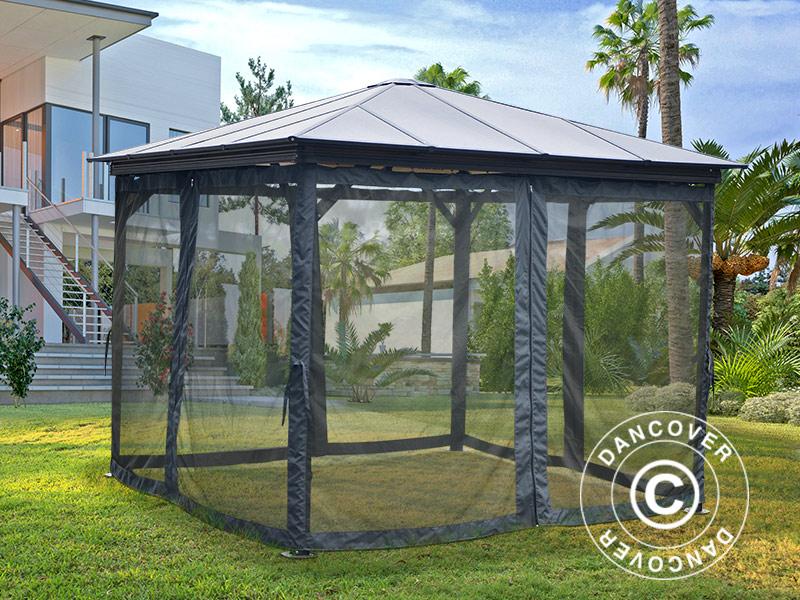 moustiquaire pour tonnelle santa monica 3x3m 4 pcs gris. Black Bedroom Furniture Sets. Home Design Ideas