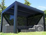 Sidewall screen f/pergola gazebo San Pablo, 4 m, Black - 9