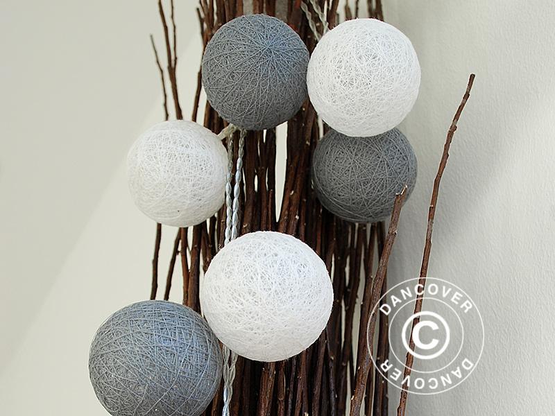 Catena di luci con sfere di cotone gemini lampadine a led