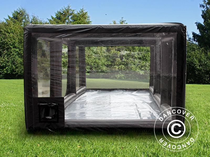 garage gonfiabile 2 7x5m pvc nero trasparente con