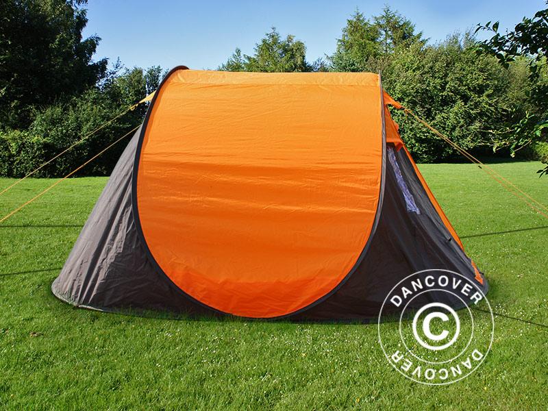 Ekspresowy namiot kempingowy FlashTents®, 4 osobowy, Medium, PomarańczowyCiemny szary