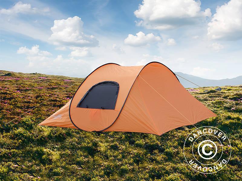 Ekspresowy namiot kempingowy, Flashtents®, 4 osobowy, Medium PT 1, pomarańczowyciemnoszary