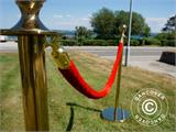 Velvet rope for rope barriers, 150 cm, Red and Gold Hook  - 3